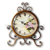 Wholesale restore antiques - 11 Inches Table Clocks Restore Ancient Wrought Iron Sitting Room Desk Clock Mute Clock Decorative Furnishing Articles Decoration