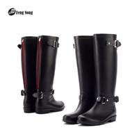 sapatos de chuva de borracha mulheres venda por atacado-Botas de chuva de fengnong design meados de bezerro botas estudante chuva sapatos de escola mulher borracha sólida à prova d 'água escola botas w016