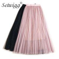 f32546087de SETWIGG Фея тюль бисером длинные юбки женщины лето бисером металлические  марлевые слоистые сетки юбки пачки юбки плиссированные юбки Femme