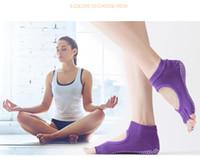 Wholesale Yoga Pilates Toes Socks - Women Pilates Five Toe 100% cotton Non-Slip Toes socks Anti-slip Yoga female socks Mix color Free Shipping