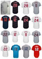 Wholesale blank blue - Cleveland Jersey 12 11 Jose Ramirez 24 Miller 22 Jason Kipnis 28 Corey Kluber Blank Baseball Jerseys Stitched