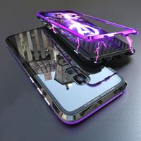 note cas magnétique achat en gros de-Étui magnétique à bascule par adsorption pour Samsung Galaxy S8 S9 Plus Note 8 9 Cas Aimant Métal En Verre Trempé Couverture Arrière