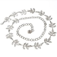 Wholesale Gold Chain Belts For Women - Gold Silver Belt Fashion Leaf Flower Decoration Jewelry Waistband Noble For Women Waist Body Chain Durable 12 5hj B