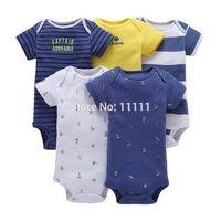 ingrosso pigiami organici-5 pezzi / lotto primavera autunno manica lunga originale bebes vestiti della ragazza del neonato set neonato tuta abbigliamento per bambini