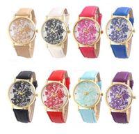 sieht schnürsenkel großhandel-Spitze-Druck-Uhr-Frauen-lederner Bügel-Band-Armband-Armbanduhr-Kleid-Armbanduhr 8 Farben