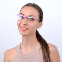 llantas rosas al por mayor-Moda Candy Pink Metal Glasse Marco óptico Anteojos Mujeres Medio borde Marco de espectáculo de miopía