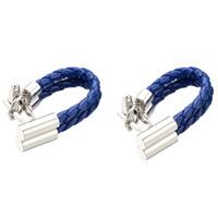 ingrosso gemelli caldi di vendita-Vendita calda gemelli a catena in pelle blu sano polsino tessitura bracciale pulsante gioielli gemelos uomini 5pairs trasporto di goccia 248
