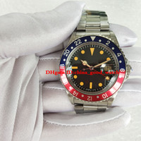 Wholesale antique calendar - BP Factory Luxury High Quality Watch blue-red bezel gmt 1675 Pepsi black dial 40mm automatic watch Antique watches mens Wristwatches 002