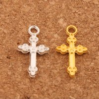 Wholesale gold oval necklace - 300pcs lot Silver Gold Plated Oval Flower Cross Charm Beads Pendants 10.6x19.4mm Fashion Jewelry DIY Fit Bracelets Necklace Earrings L476