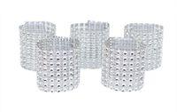 kanepeler için toka toptan satış-100 adet Rhinestone Peçete Halkaları Düğün Ziyafet Peçete Tutucu Wrap Toka Sandalye Sashes Bow Otel Parti Dekorasyon Kapakları