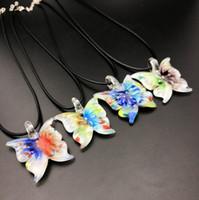 Wholesale cheap lampwork pendants - Fashion Butterfly Italian Venetian Lampwork Clear Murano Glass Pendants Necklaces Jewelry Handmade with leather Chain Bulk Wholesale Cheap
