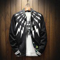 Wholesale Trend Fashion Jacket Korean - Spring and Autumn Men's Coat Casual Collar Jacket Korean Slim Print Baseball Clothing Trend Clothes Autumn Men Spring and Autumn New Product