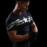 Wholesale punisher shirt xl - Captain America 3D T Shirt Men Fitness Compression Shirts Tops Male Print Superhero Superman punisher Crossfit Anime T-Shirts