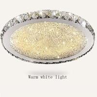 führte küchenarmaturen großhandel-Luxus Runde Led Kristall Deckenleuchte Ultradünne 6 cm Unterputz Deckenleuchten Leuchte Mischkristall für Wohnzimmer Schlafzimmer küche