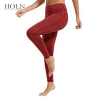 ingrosso donne che indossano pantaloni stretti di yoga-HOLN 2018 new throgh Pantaloni a vita alta da donna Pantalone yoga Solid Nero Sport Gym Leggings da allenamento Elastic Fitness Lady Collant a tutto tondo 170033