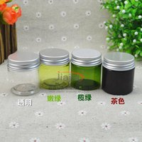 cuidado verde venda por atacado-30 gramas brown / green / claro / luz verde pet jar, 30 ml de plástico jar com prata tampa de alumínio cosmético recipiente de cuidados pessoais