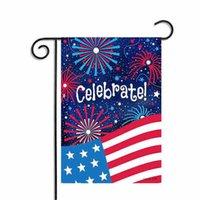 drapeaux de jardin gratuits achat en gros de-2018 célébrer patriotique fête de l'indépendance jardin drapeau cadeaux maison fil pelouse décor 30 * 45 cm jardin bannière livraison gratuite
