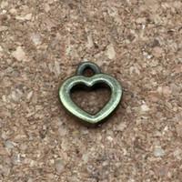 Wholesale bronze necklace online - Small Open Heart Charm Pendants x12mm Antique bronze Alloy Jewelry DIY Fit Bracelets Necklace Earrings A