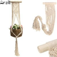 Wholesale vintage fiber art - Vintage Macrame Plants Hanger 40 Inch Hook Flower Pot Holder String Hanging Rope Wall Art Home Garden Balcony Decoration