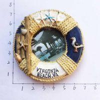 Wholesale single photo frames - American Virginia Beach Tourism Memorial Magnet Small Photo Frame Fridge Magnet