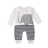 vêtements mignons bébé éléphant achat en gros de-2018 Nouveau-né Enfants Bébé Filles Garçons Éléphant Rayé Combi-pantalon Combinaisons Tenues Un-Vêtements Mignons