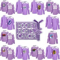 Wholesale Oranges Cancer - Authentic Purple Fights Cancer Practice Jersey New York Rangers Chicago Blackhawks Minnesota Wild Montreal Canadiens Custom Hockey Jerseys