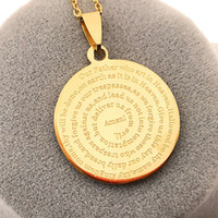 Wholesale engraved gold plate necklace - Our Father English Engraved Lords Prayer Gold Silver Script Stainless steel Pendant Necklaces With cm steel Chain