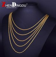 ouro real cheio venda por atacado-18k Real Banhado A Ouro de Aço Inoxidável Cadeia de Corda de aço Inoxidável Rapper 3mm 20/24/30