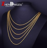 "Wholesale 18k Gold Mens Rope Chain - 18K Real Gold Plated Stainless Steel Rope Chain Stainless steel Rapper's 3mm 20 24 30"" Rope Chain Mens Gold Filled Rope Chain Necklace"
