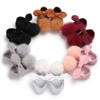 Wholesale cute infant girls shoes online - Baby Girls big Plush Pompon bow princess shoes solid colors cute infants soft sole first walkers sizes toddlers princess dresses shoes B
