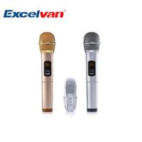 ingrosso luci di display a led senza fili-Excelvan K18U Professional Microfono Bluetooth a due mani con sistema di microfoni wireless UHF Display a LED leggero