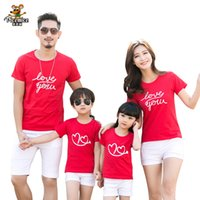 Wholesale clothes for father son - Family clothing 2018 Summer Love Heart Short-sleeve T-shirt Matching Family Clothing Outfits For Mother Daughter And Father Son