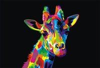 ingrosso giraffa a olio di tela di canapa-Incorniciato, Lotti all'ingrosso, Giraffa animale