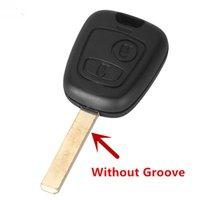 ingrosso scanalature chiave della lama-10 Pz / lotto Per Peugeot 307 2 Pulsante chiave transponder Shell senza Groove Blade S47
