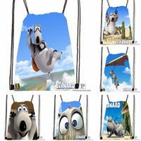 Wholesale black animated - Custom Animated Shorts Bernard Polar Drawstring Backpack Bag Cute Daypack Kids Satchel (Black Back) 31x40cm#180531-02-29