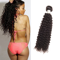 Wholesale one piece human - Brazilian Virgin Human Hair One Bundle Kinky Curly 1piece lot Kinky Curly Hair Extensions 95-100g piece Natural Color