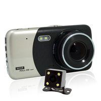 vidéo pour voitures achat en gros de-Caméra double tableau de bord 1080p HD voiture double DVR avant et arrière, enregistreur vidéo de conduite avec 4,0 pouces, G-Sensor, détection de mouvement, WDR, mode parking