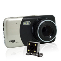 sensor de movimiento para leds al por mayor-Dual dash Cam 1080P HD Doble canal Coche DVR Delantero y trasero, grabadora de video de conducción con 4.0 pulgadas, G-Sensor, detección de movimiento, WDR, modo de estacionamiento