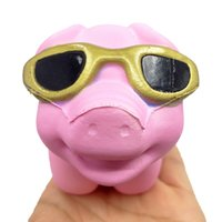 Wholesale pink bread - Kawaii Cute Pink Glasses Pig Phone Straps Face Jumbo Squishy Soft Slow Rising Squeeze Scented Cream Bread Cake Novelty Items OOA4949