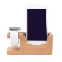 soporte de teléfono celular de madera al por mayor-Para el reloj y el teléfono móvil Bamboo Charging Station Stand USB Charger Dock Bucket Wood Phone Holder para teléfono celular