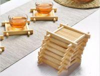 ingrosso tappetini da tavolino in bambù-Stuoia di bambù fatta a mano Kung Fu Accessori per il tè Tovagliette da tavola tazze di caffè sottobicchiere bevande accessori da cucina mug stuoie pad LLFA