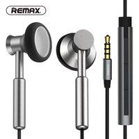 örgülü kulaklıklar toptan satış-Yeni 100% Orijinal REMAX Temizle Metal Kulak Kulaklık HD Mic ile Gürültü izole Ağır Bas Kulakiçi Örgülü Kablo Düz telefon için