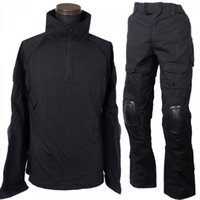 uniformes do exército negro venda por atacado-Camisa preta Combate BDU uniformes CQC Exército Tactical Pants Set Outdoor Paintball Hunting Clothes Suit