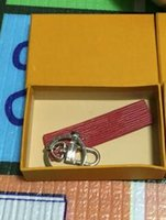 Wholesale buckle style rings - Fancy&Fantasy New Business Keychain red Leather Zinc Alloy Key Chain Car Key Ring Horseshoe Buckle Luxury Gifts Customized