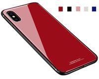 kombo geri toptan satış-Iphone X için Temperli Cam Durumda Iphone 6 6 S 7 8 Artı Tam Koruyucu Arka Kapak Darbeye Kabuk Combo TPU Çerçeve Ince Hissediyorum
