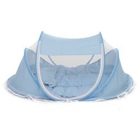 Wholesale baby crib canopy netting - Cute Baby Crib 3Pcs Portable Type Comfortable Babies Pad with Sealed Mosquito Net Kids Infant Bed Dot Zipper Canopy Mosquito Net