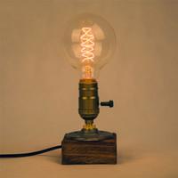 Wholesale Vintage Black Table Lamp - Industrial Vintage Edison Wooden Base Socket E27 Desk Light Home Decor table lamp