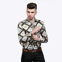цветок хлопок длинное платье оптовых-Яркие шелковые рубашки мужчины продвижение осень с длинным рукавом повседневная хлопок цветок рубашки для мужчин дизайнер Slim Fit Dress рубашки