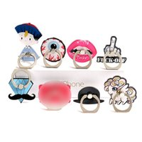 Wholesale Red Lips Phone - Universal 360 Degree Cartoon Finger Ring Holder Lip Pattern Phone Ring Stand For iPhone X Samsung Huawei Phones