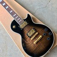 kaplanlar gitarları toptan satış-Toptan yüksek kaliteli özel LP 1960 elektro gitar, kaplan alev top guitarra.Rosewood fingerboard.Gold hardware.Sunburst.